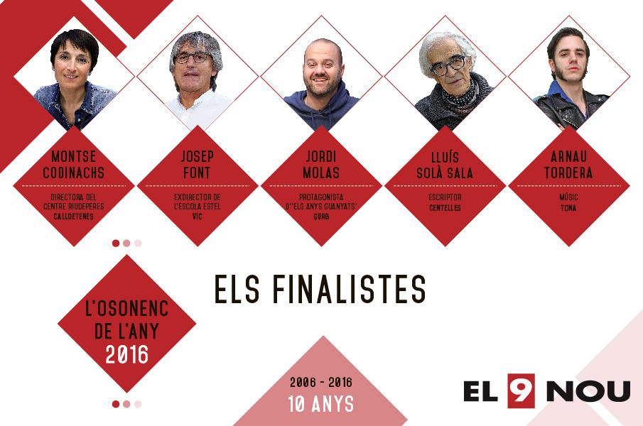 Els cinc finalistes de l'Osonenc de l'Any 2016