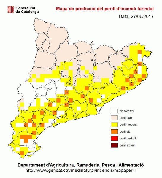 Mapa de risc d'incendi per aquest dimarts a Catalunya / Generalitat de Catalunya
