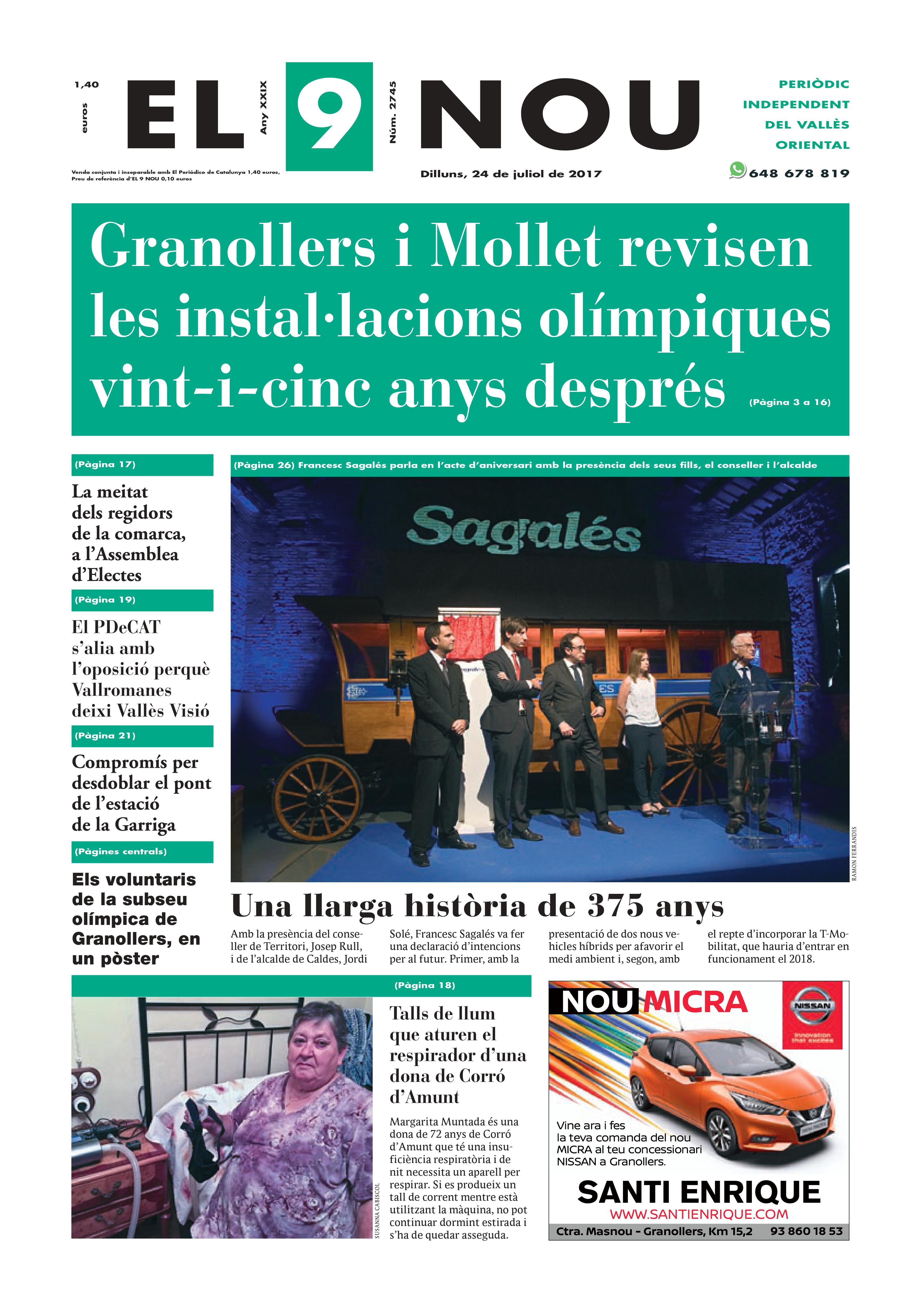 La portada del dilluns 24 de juliol de 2017