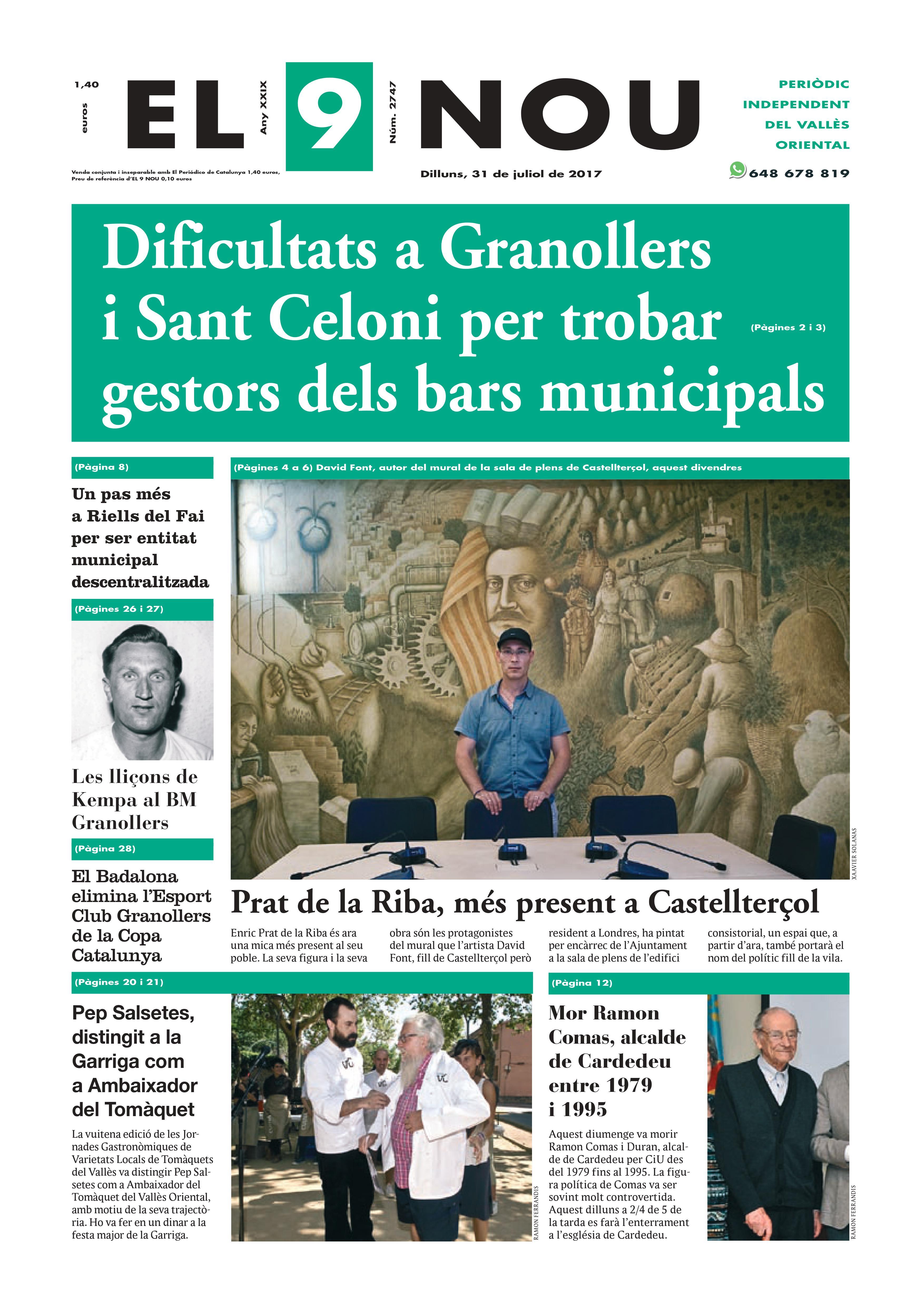 La portada del 31 de juliol de 2017