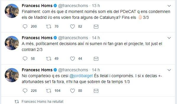 Homs va fer tres piulades per resumir el seu pensament