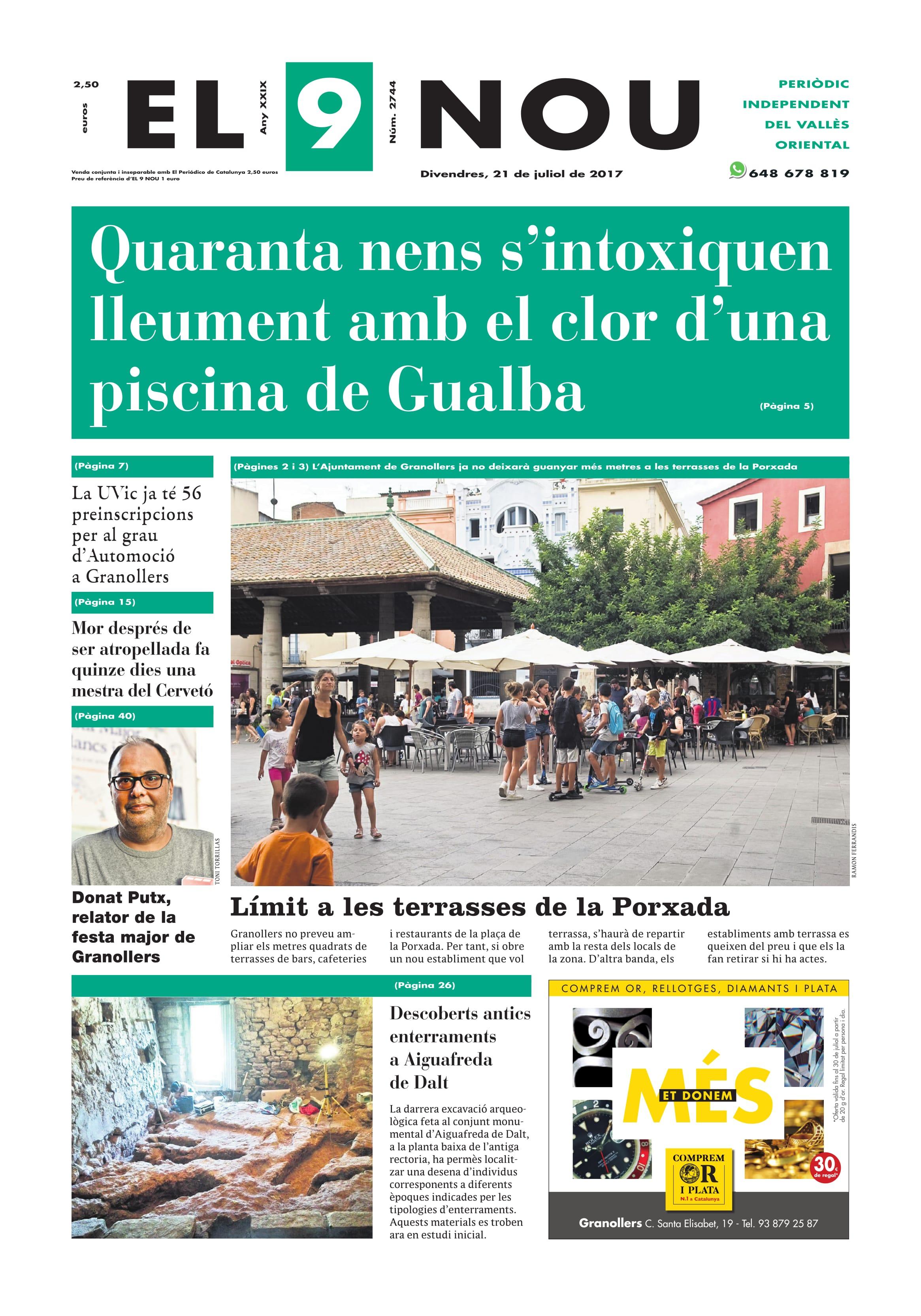 La portada del divendres 21 de juliol de 2017