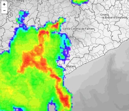 Imatge del radar del Meteocat aquest diumenge cap a 2/4 de 8 del vespre