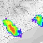 Imatge del radar del Meteocat en el moment que la pluja era més intensa