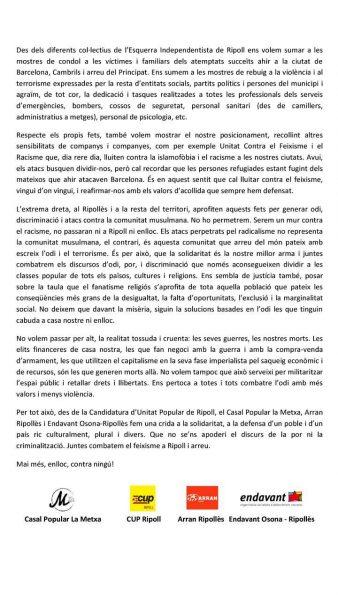 Manifest Ripoll atemptats Barcelona