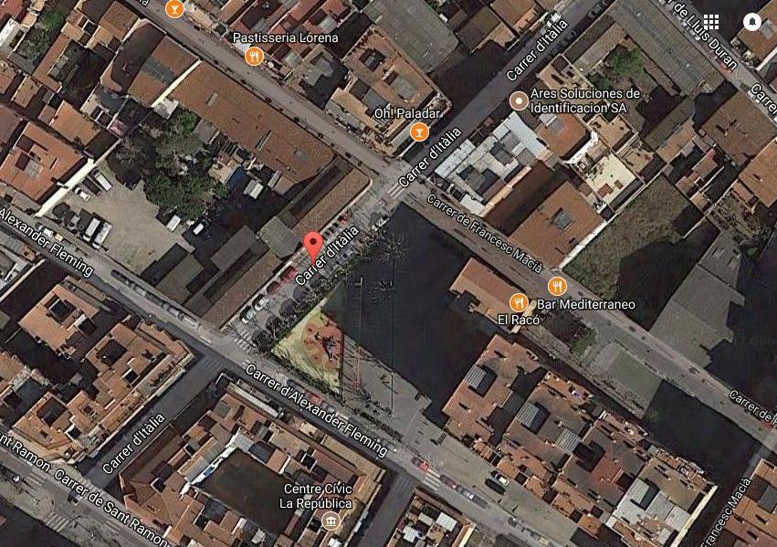 Imatge de Google Maps de la zona del carrer d'Itàlia / Google Maps