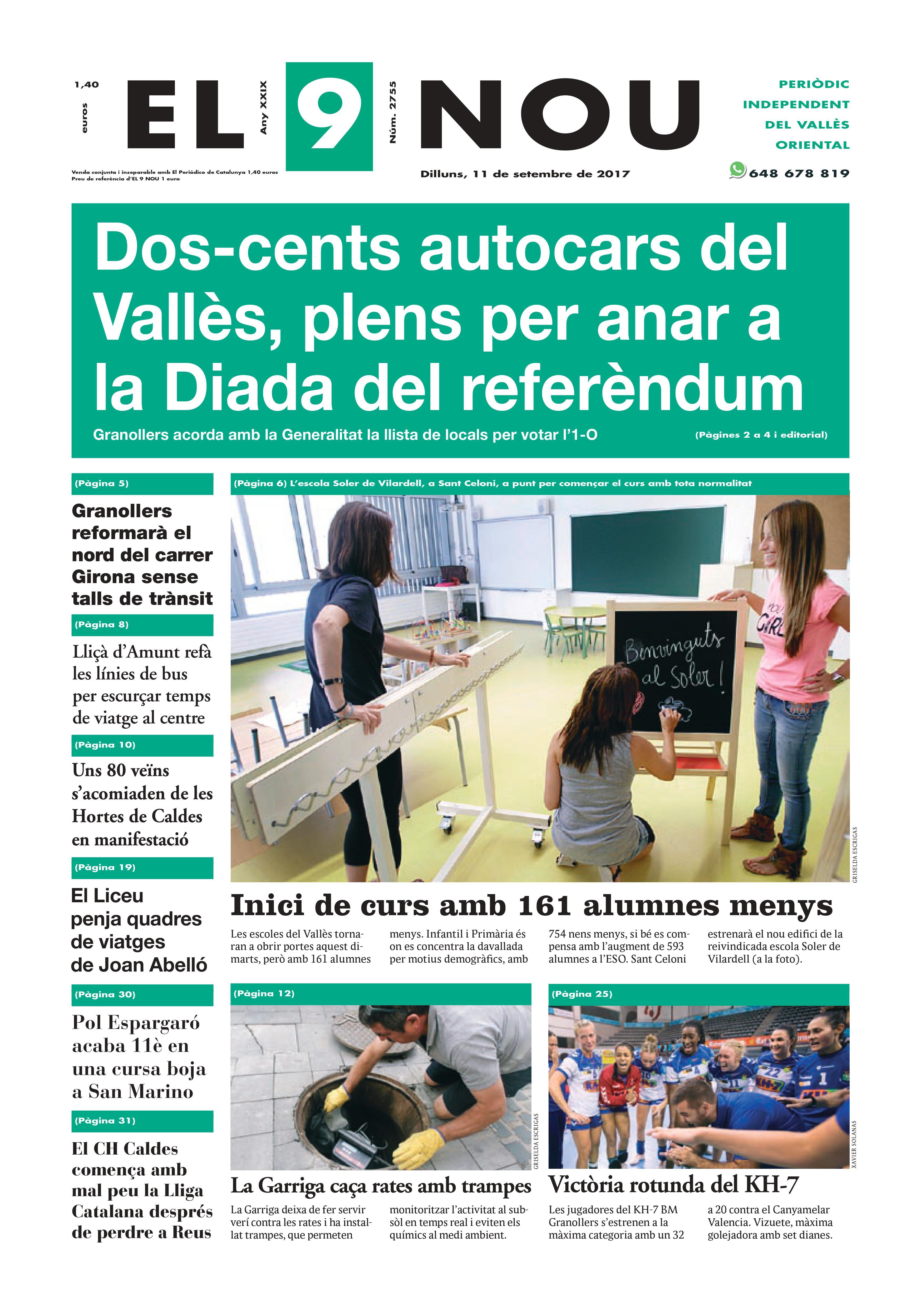 La portada del dilluns 11 de setembre de 2017