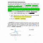 La citació que Ferràndez va rebre divendres al vespre a casa seva i que li van entregar dos agents de la policia estatal