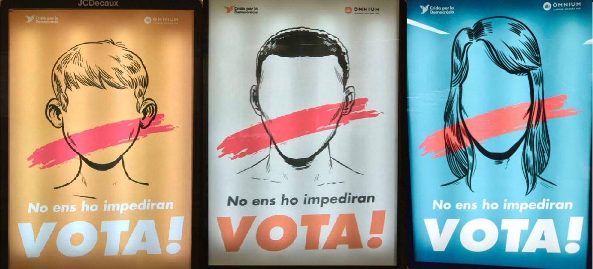 Alguns cartells de la campanya d'Òmnium
