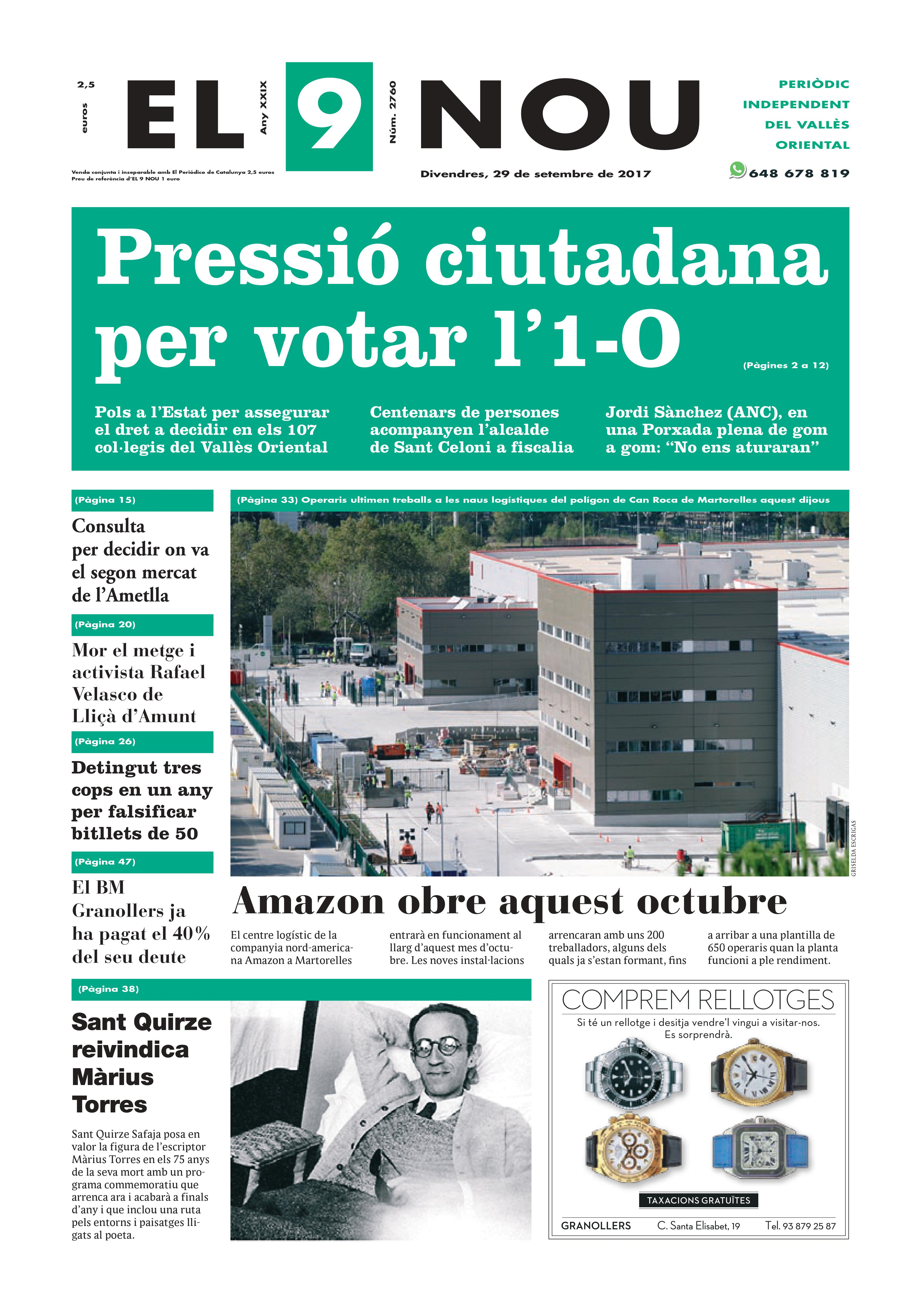 Primera pàgina divendres 29_09_2017 Vallès Oriental