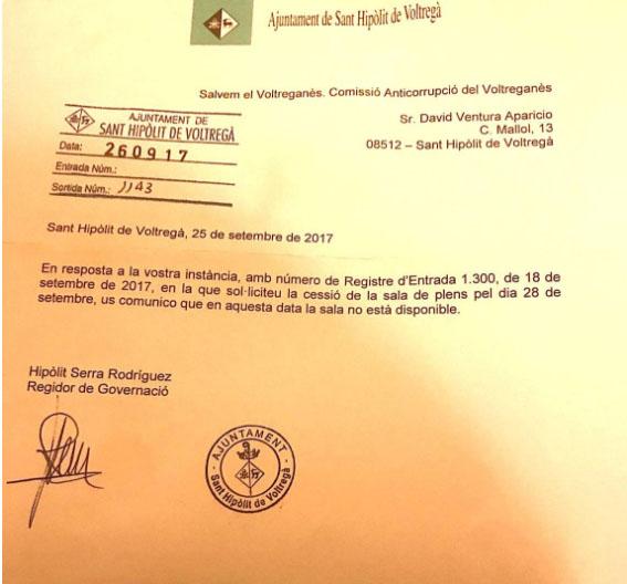 El document de l'Ajuntament