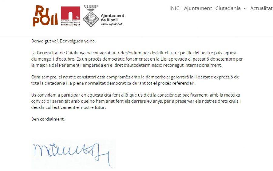 Carta de l'alcalde de Ripoll