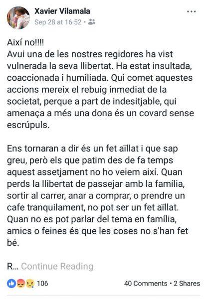 Missatge de Xavier Vilamala a les xarxes socials