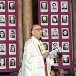 El cardenal i arquebisbe de Barcelona, Joan Josep Omella, en un moment de la missa presidida per les fotos dels màrtirs