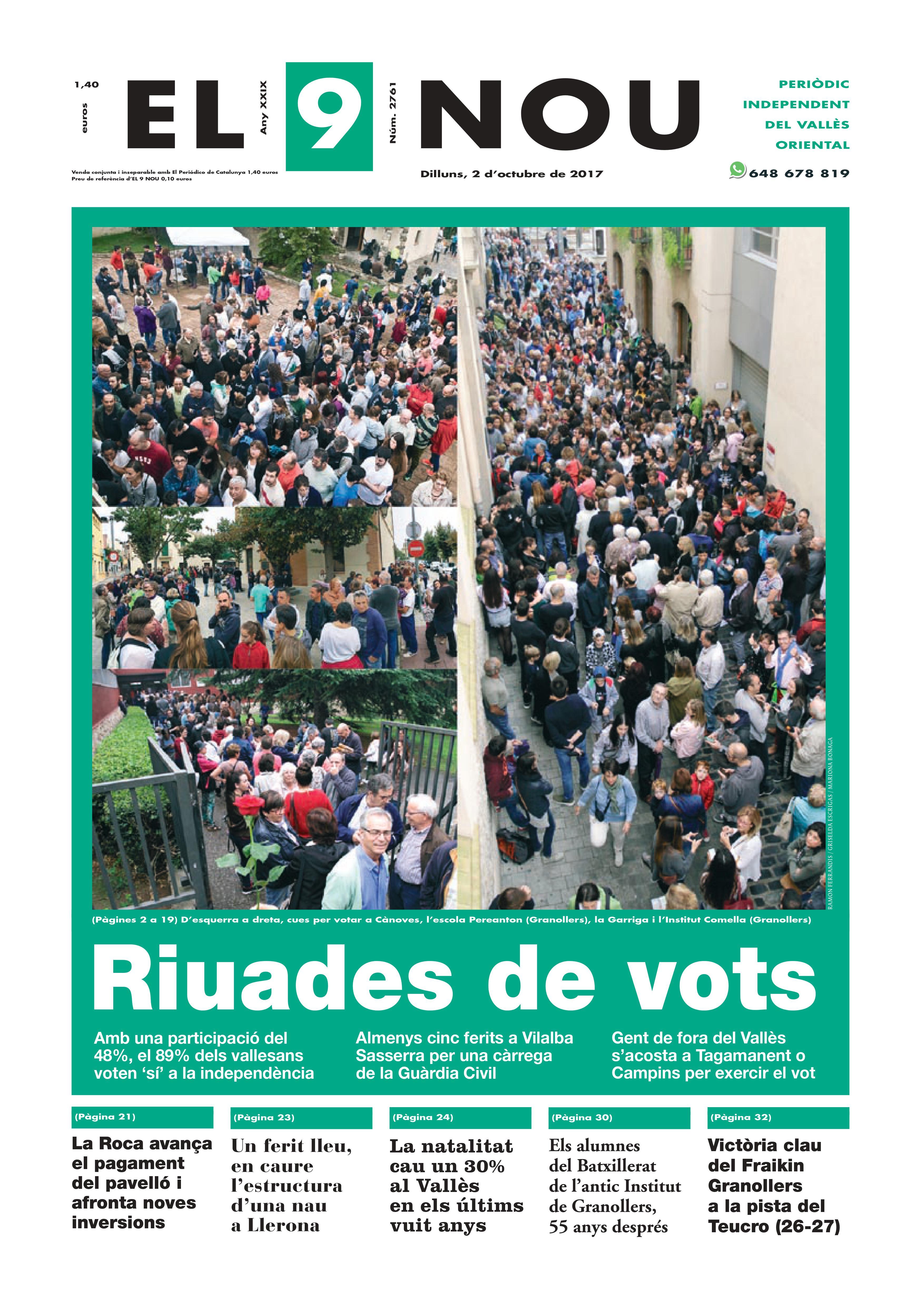 Primera plana EL 9 NOU Vallès dilluns 02_10_17