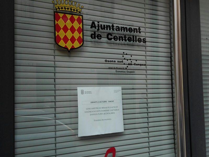 L'Ajuntament de Centelles també ha tancat