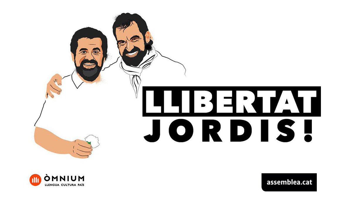 Imatge per demanar la llibertat de Cuixart i Sànchez de les entitats sobiranistes