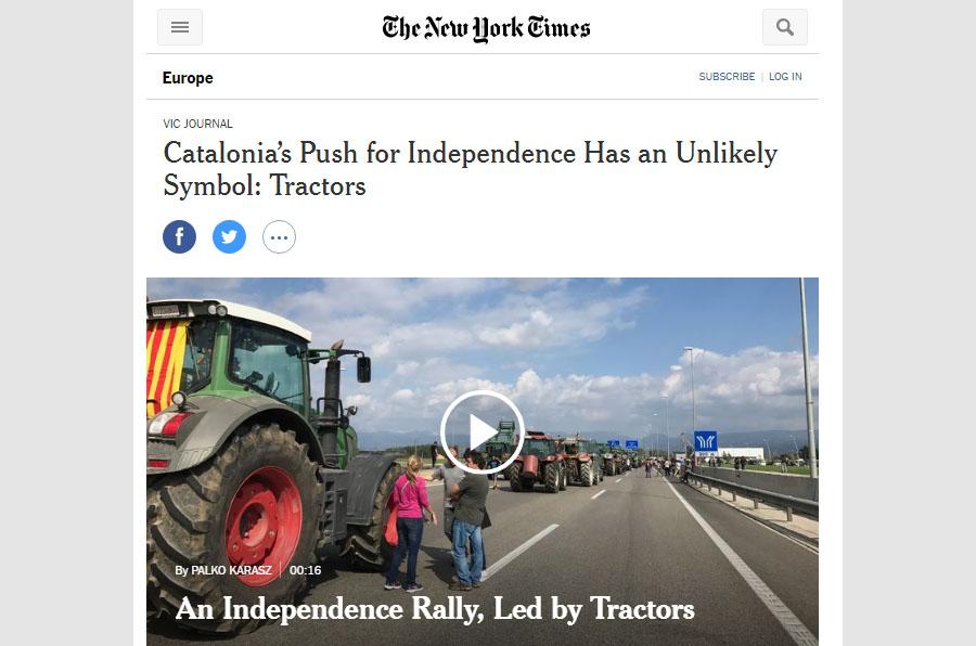 Portada de l'edició digital del NYT