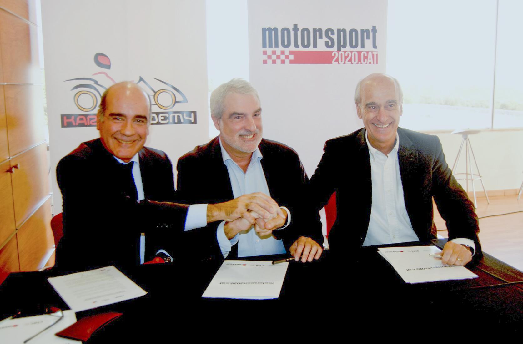 D'esquerra a dreta, Carles Grasas (STA), Joan Ollé (federació catalana) i Vicenç Aguilera, president del Circuit