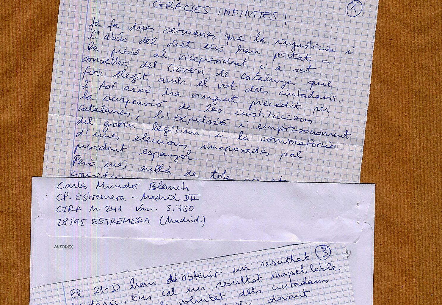 La carta escrita a mà des de la presó d'Estremera