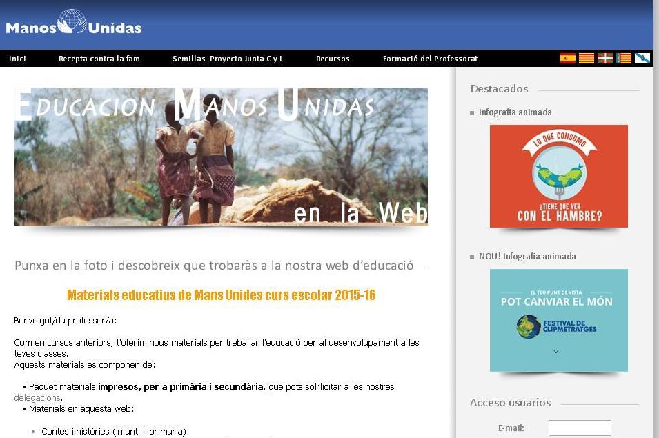 La web amb els recursos de Mans Unides