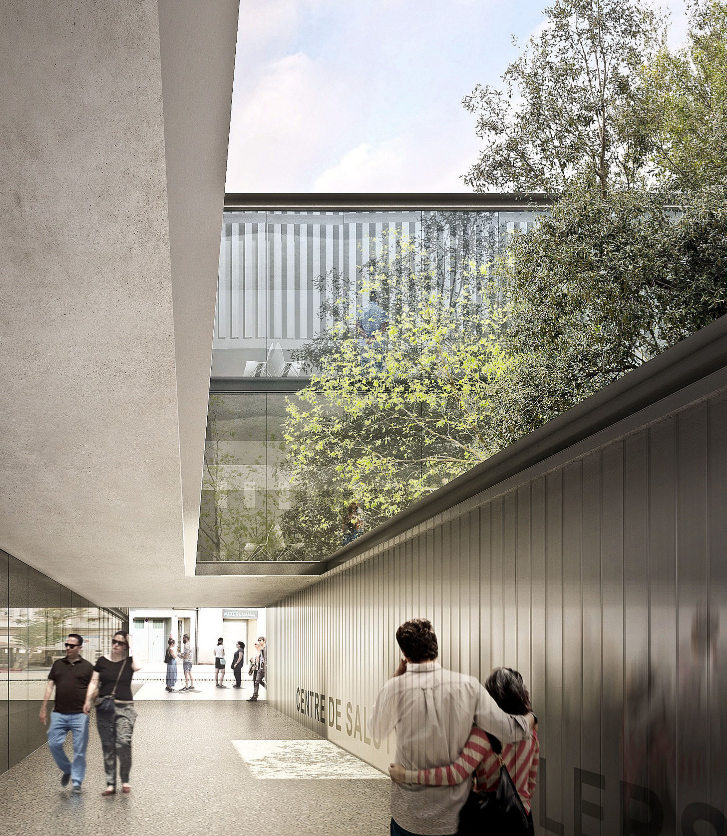 Un aspecte virtual dels exteriors del nou centre sanitari, segons el projecte de l'equip de l'arquitecte Ramon Sanabria