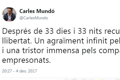 Primer tuit de Mundó un cop fora de la presó