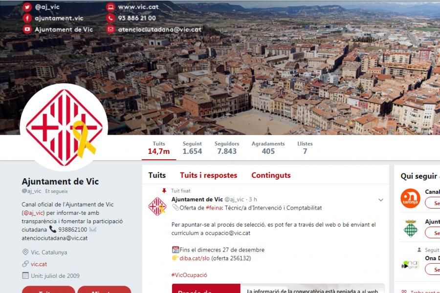 El perfil de l'Ajuntament de Vic és un dels més influents de l'estat espanyol