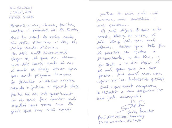 La carta que ha arribat aquest dilluns a Les Escoles de Gurb