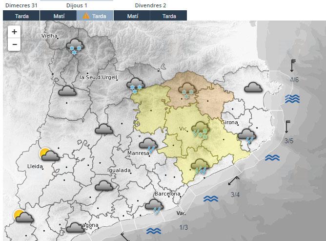 Mapa del Servei Metereològic de Catalunya
