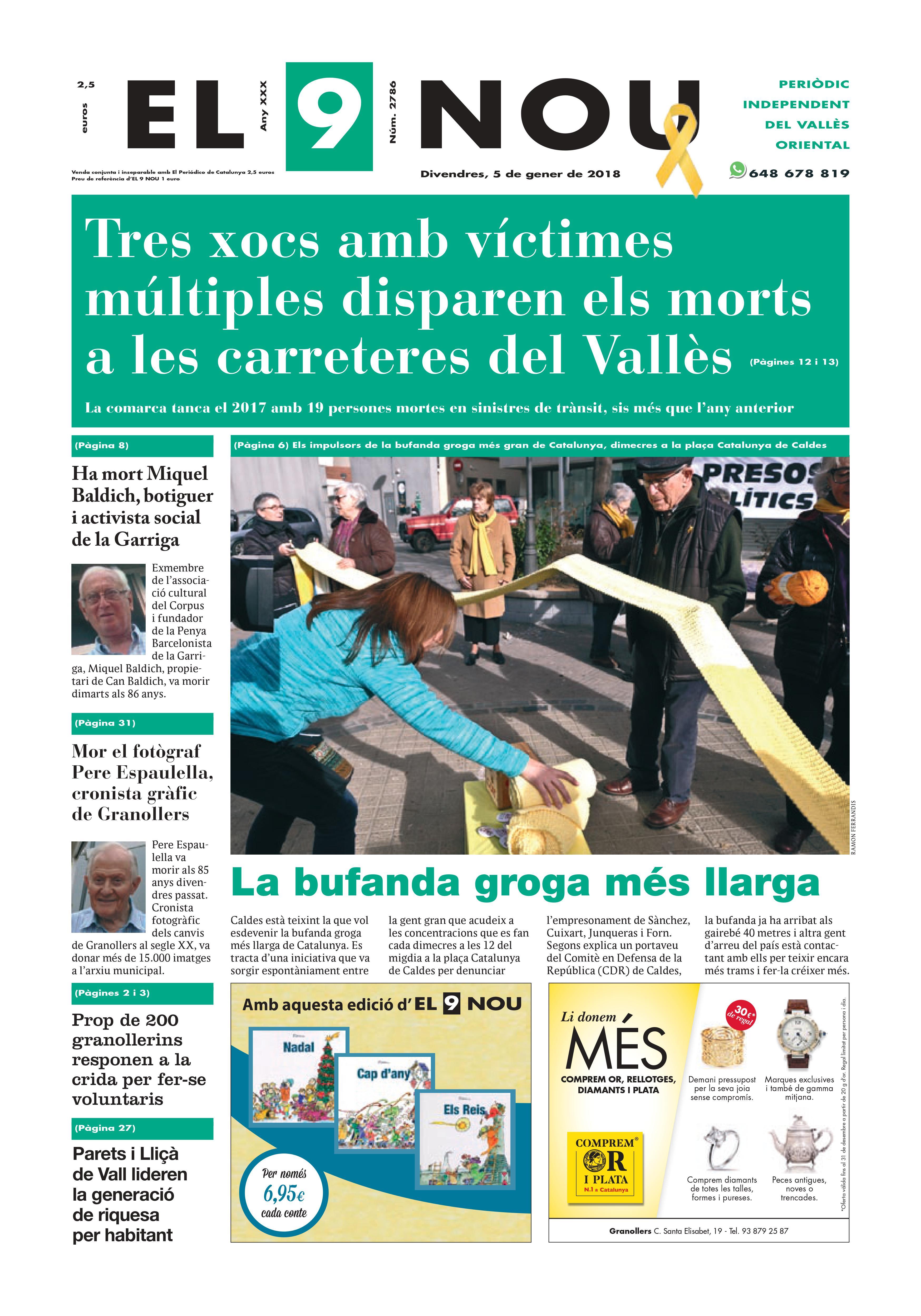portada EL 9 NOU 05_01_18 Valles