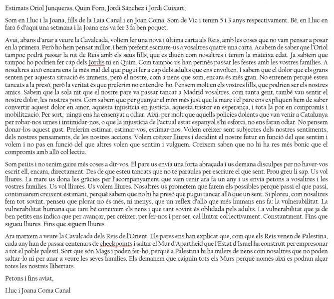 Carta d'en Lluc i la Joana