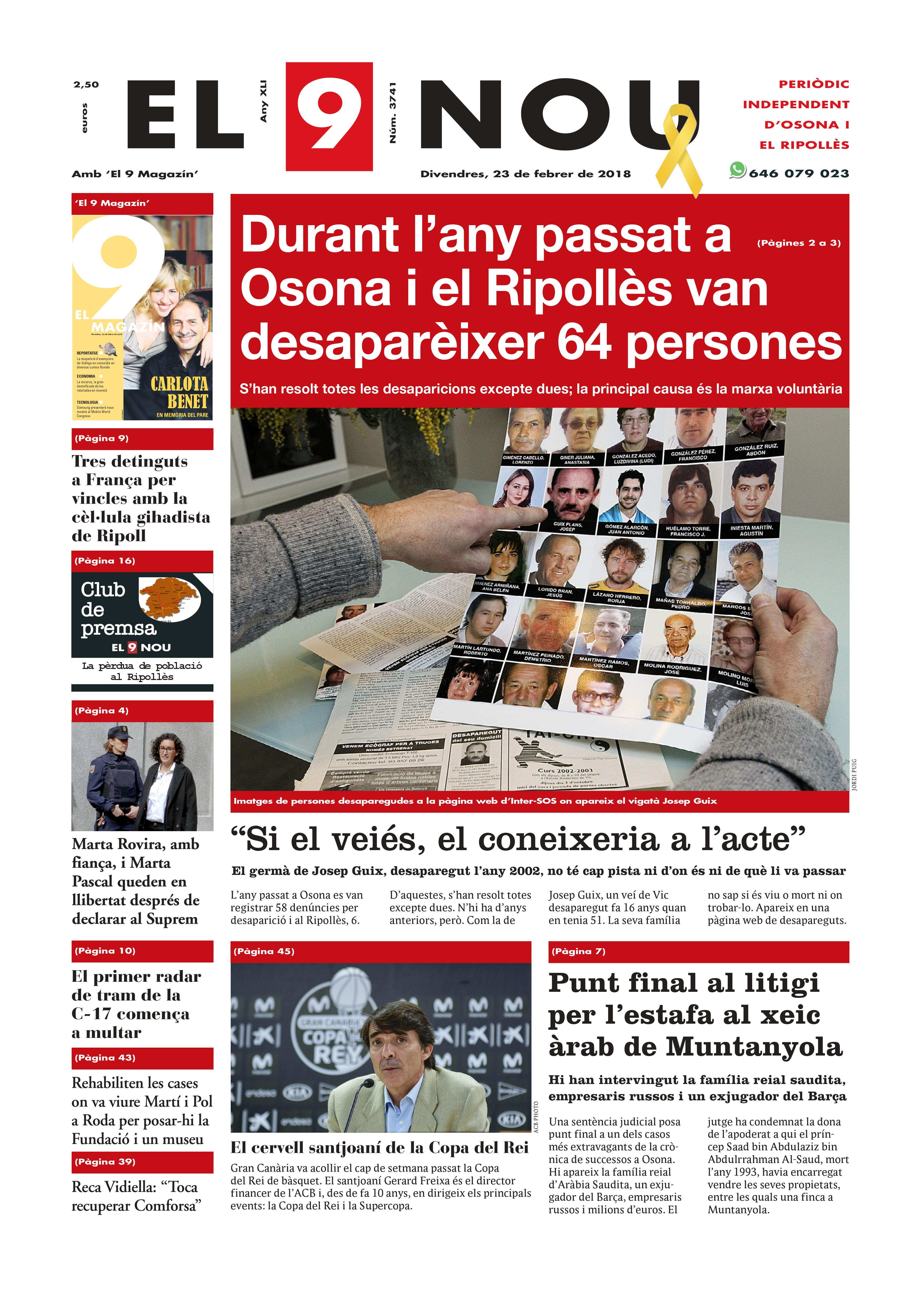 Portada del 23 de febrer de 2018