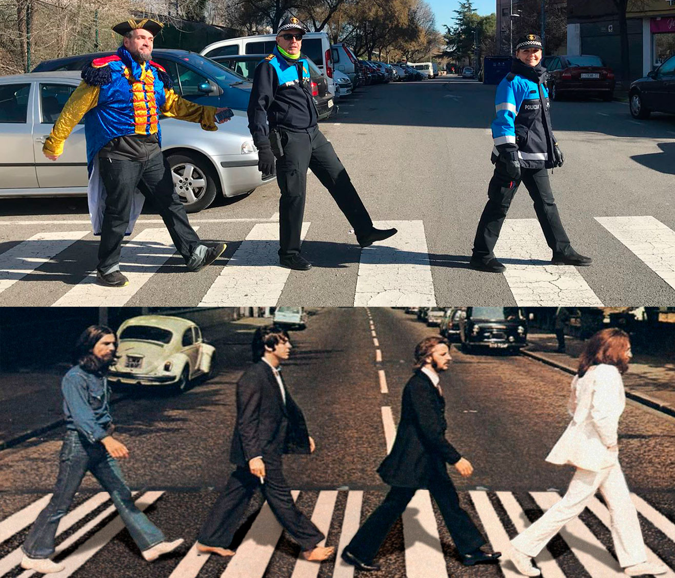 La Policia Local de Canovelles i els Beatles, fent un 'Abbbey Road'