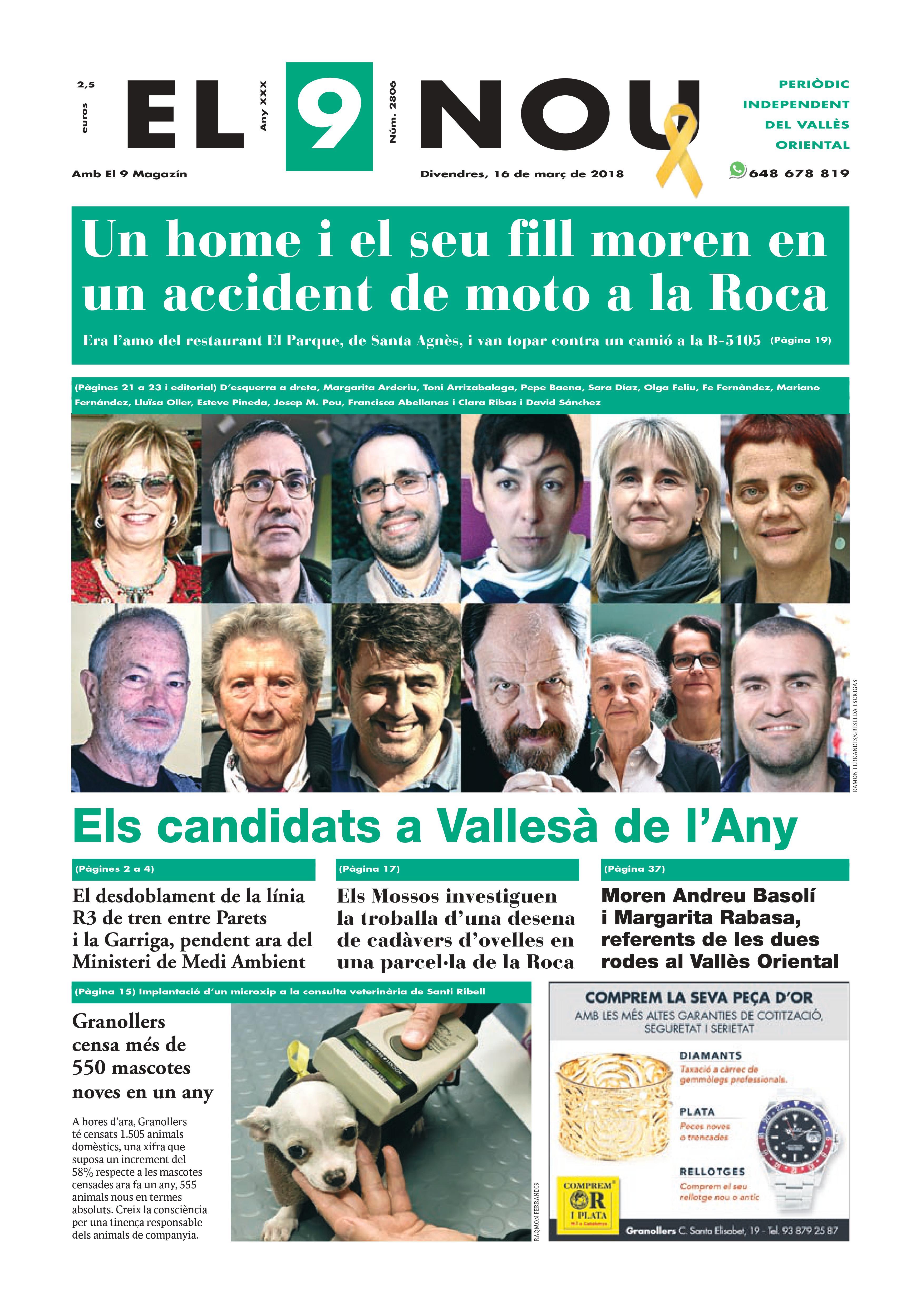 Primera Plana EL 9 NOU 16_03_18 Vallès