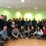 Els cantaires de Veus que participen en el concert, després d'un dels treballs amb Lluís Vilamajor