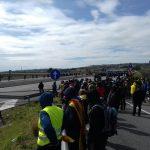 Els Mossos i els manifestants a l'AP-7 a Figueres