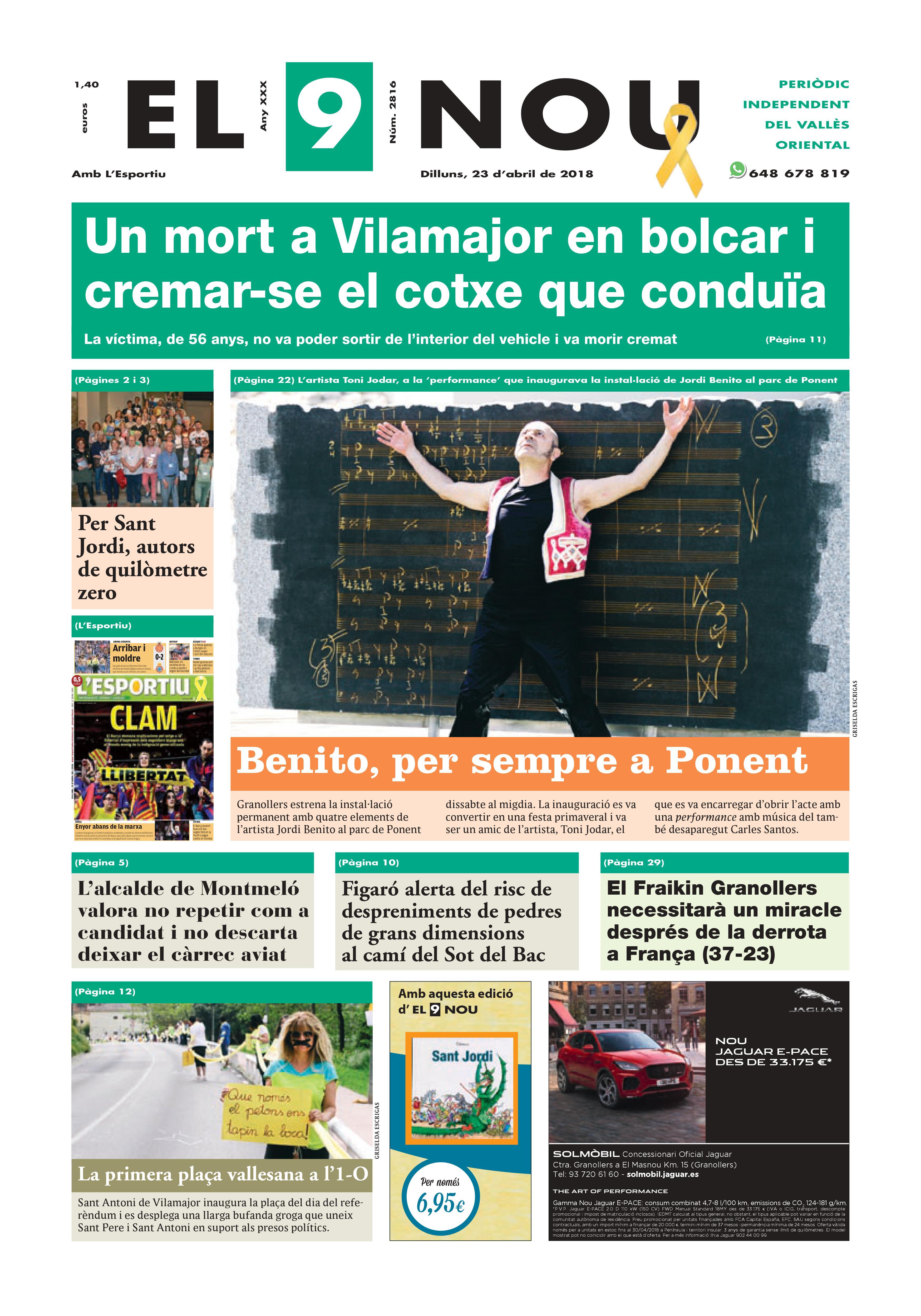 Primera plana EL 9 NOU 23_04_18 Vallès