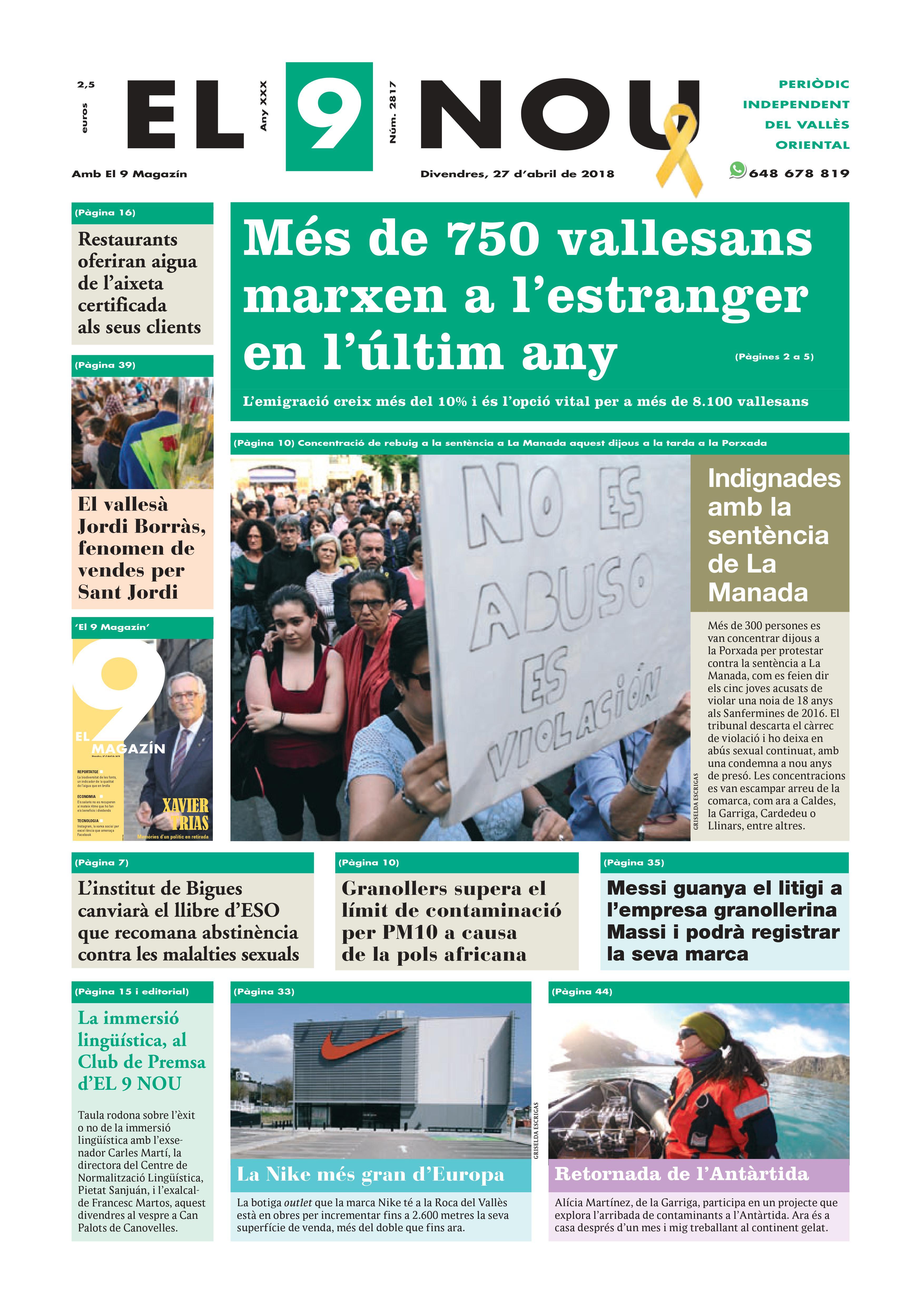 Primera plana EL 9 NOU 27_04_18 Vallès