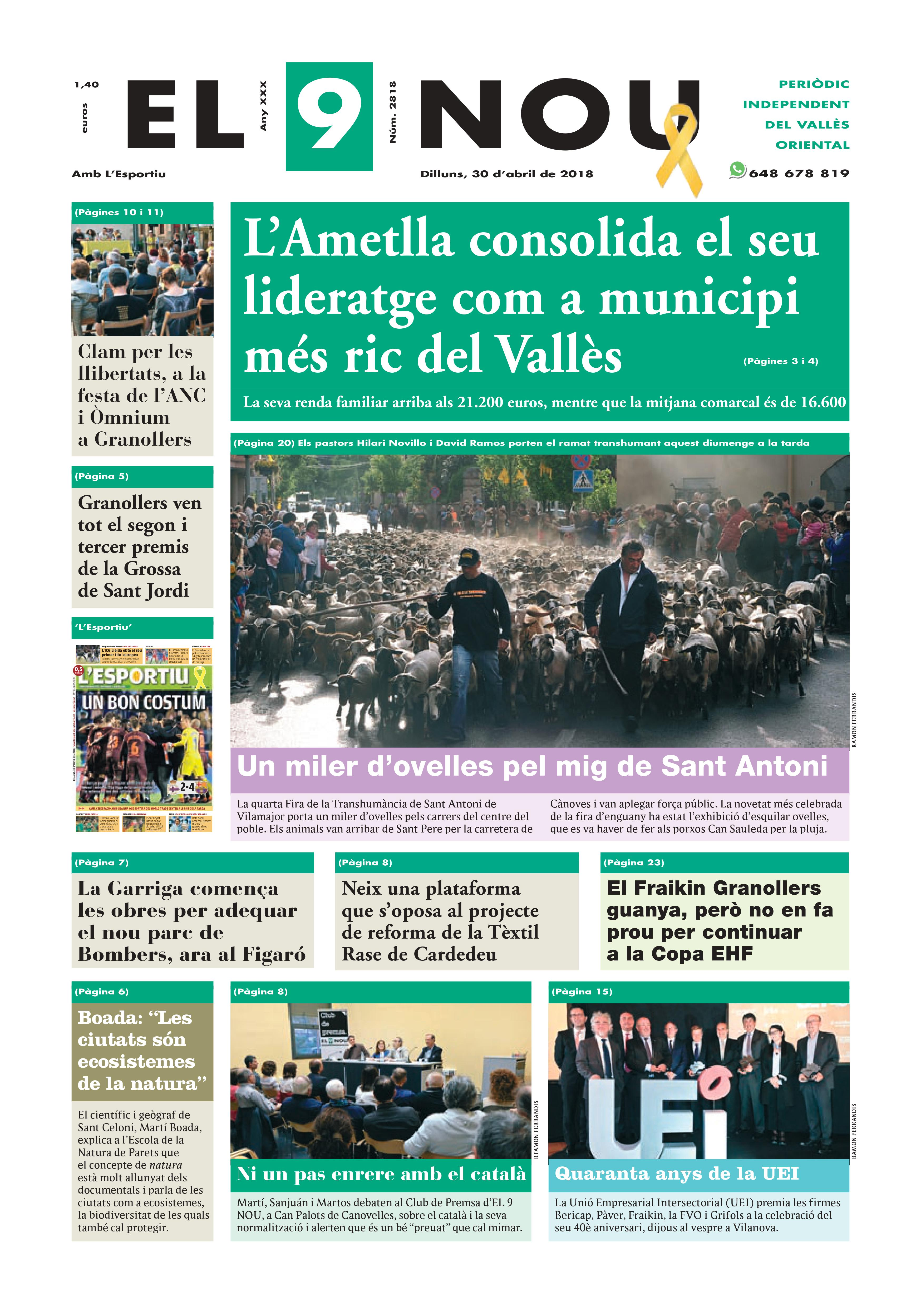 Primera plana EL 9 NOU 30_04_18 Vallès