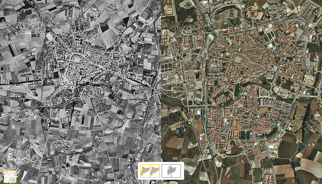 Mapa de Vic. Comparat el 1945 amb l'actualitat