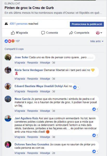 Comentaris que va rebre la notícia al Facebook d'EL 9 NOU