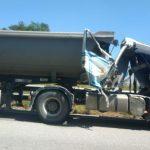 Un dels camions implicats en l'accident