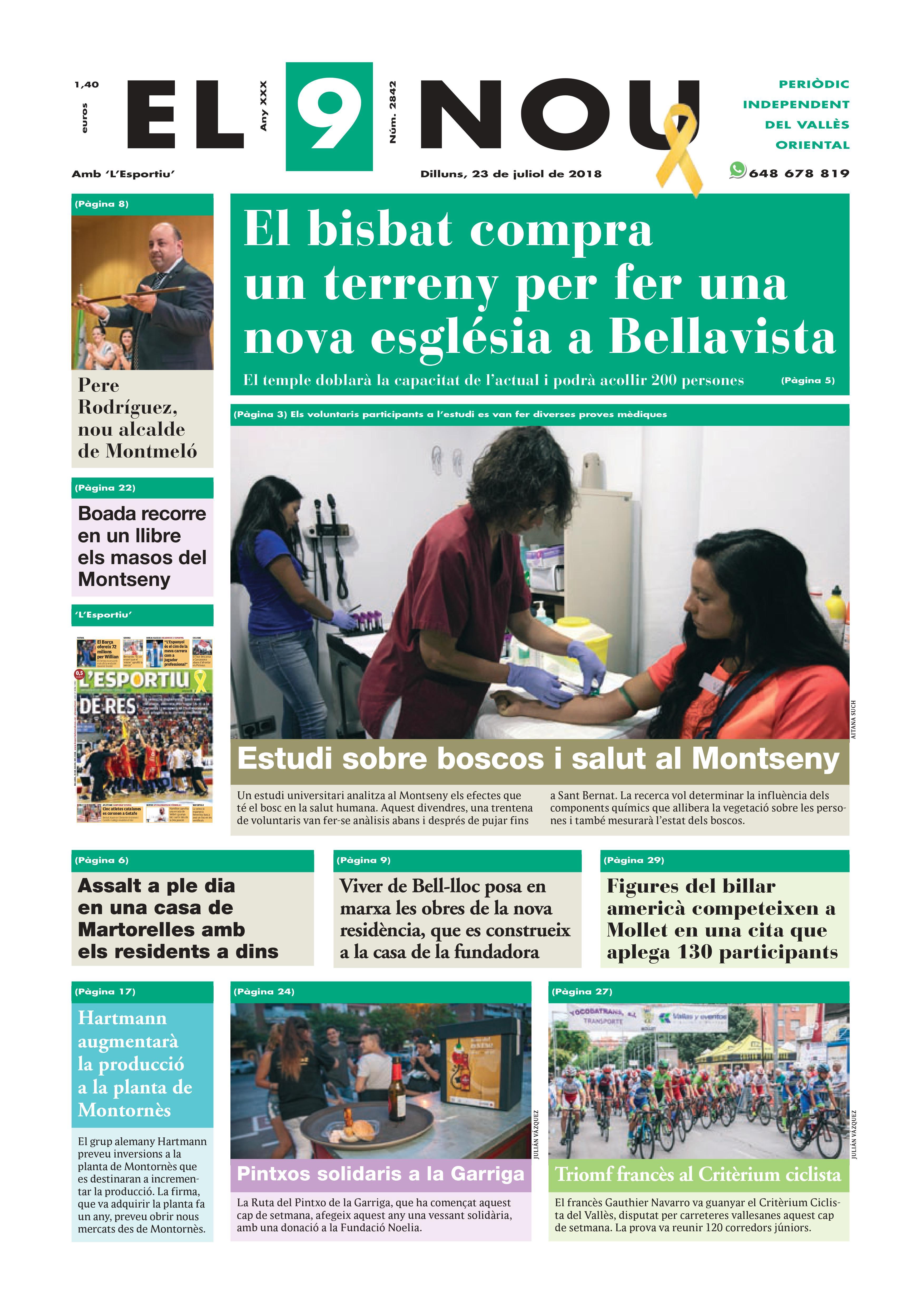 Portada Vallès Oriental 23/7/2018
