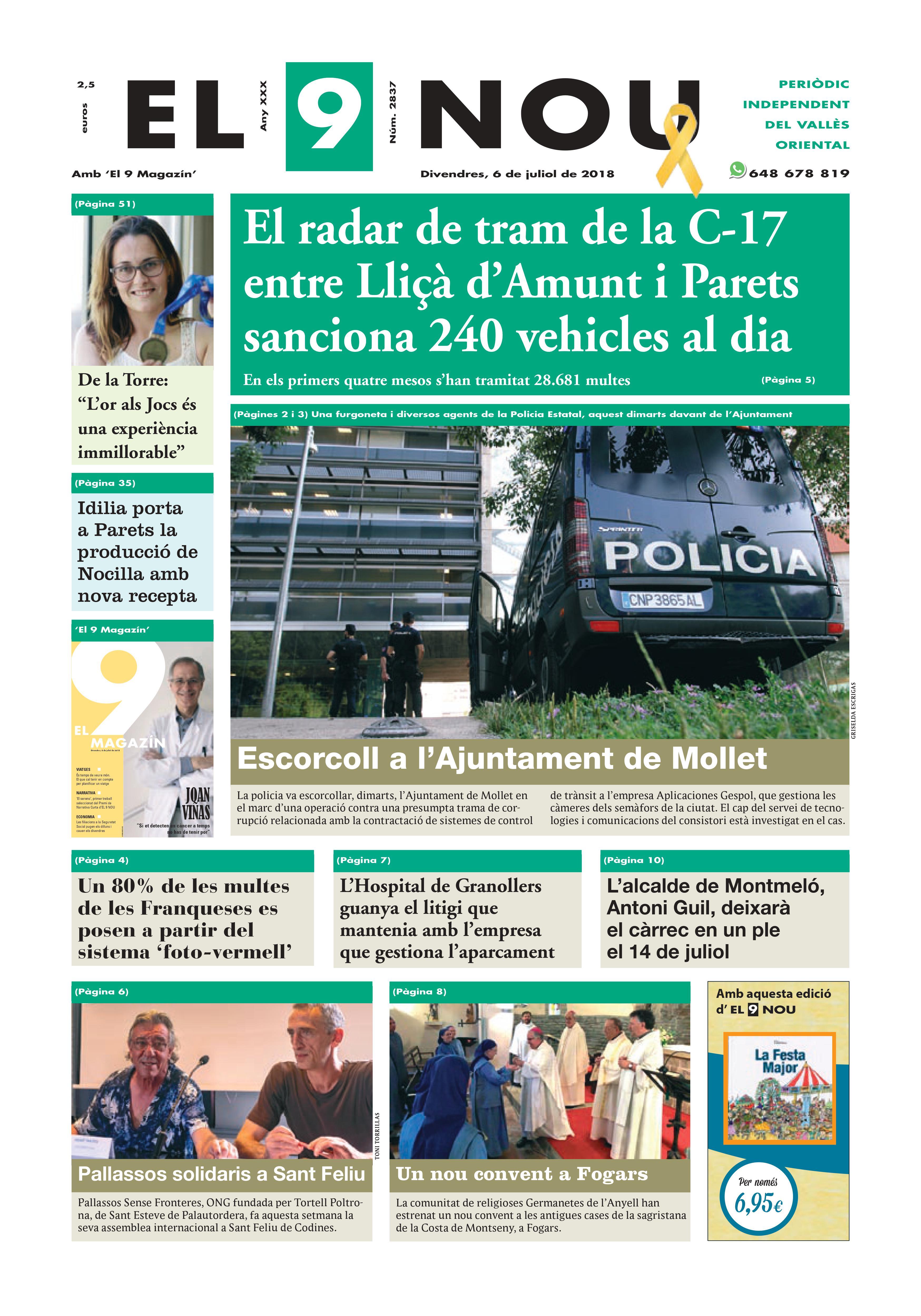 La portada del divendres 6 de juliol de 2018