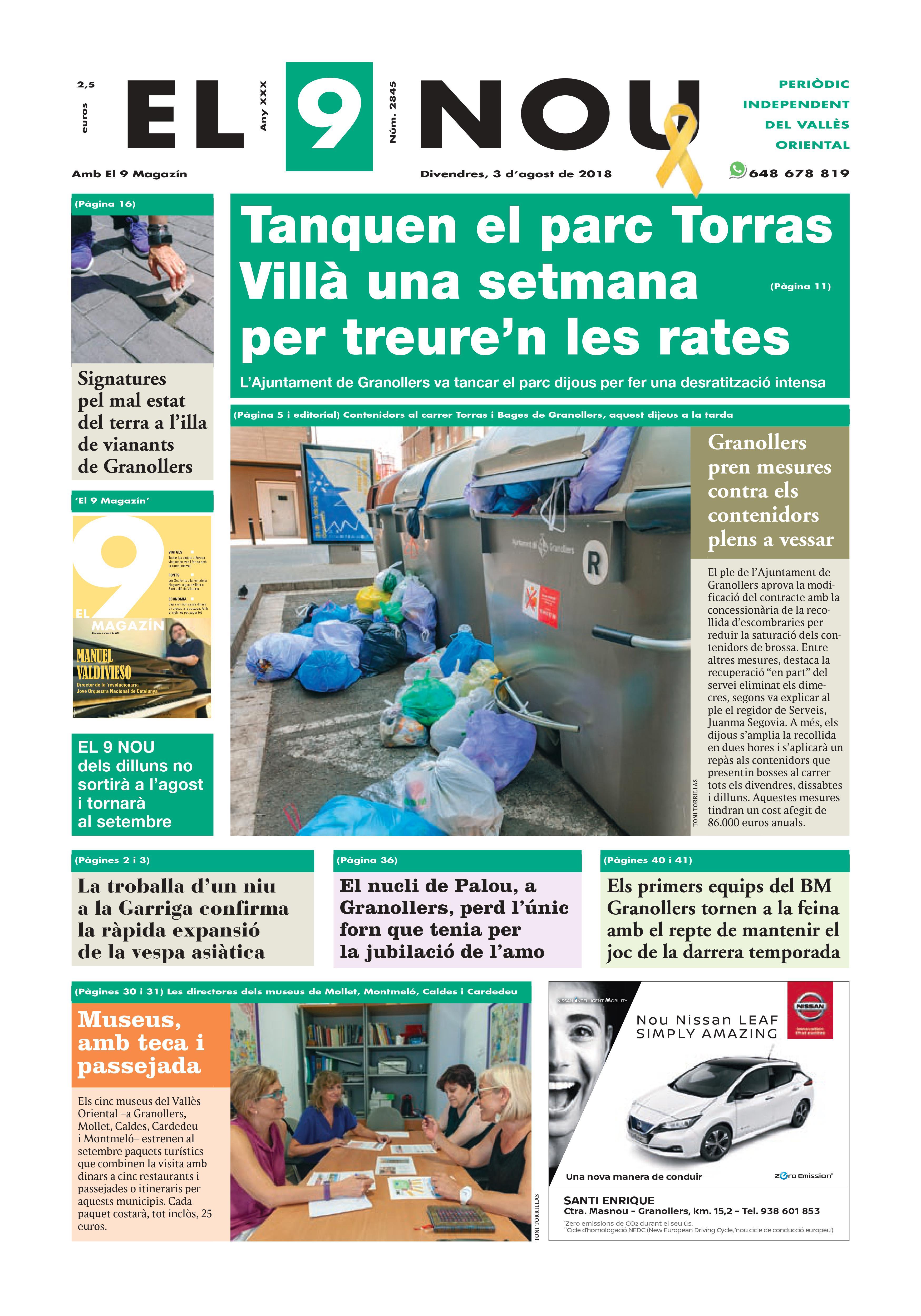 Primera plana EL 9 NOU 030818 Vallès