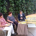 Magda Perramon, regidora de Comerç de Ripoll, Dolors Arias de la formatgeria Mas Palou i l'alcalde Jordi Munell
