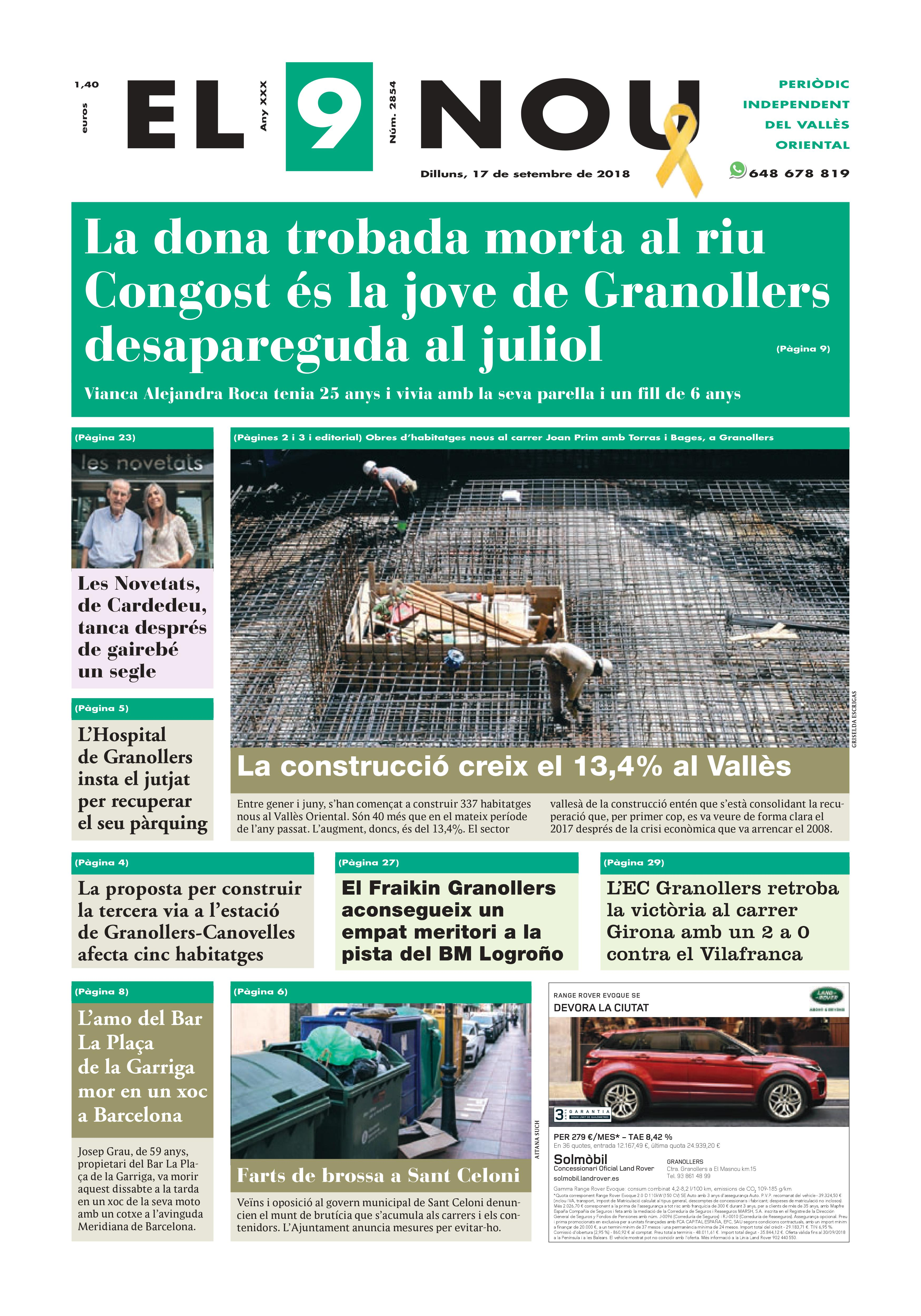 Primera plana EL 9 NOU 17_09_18 Vallès