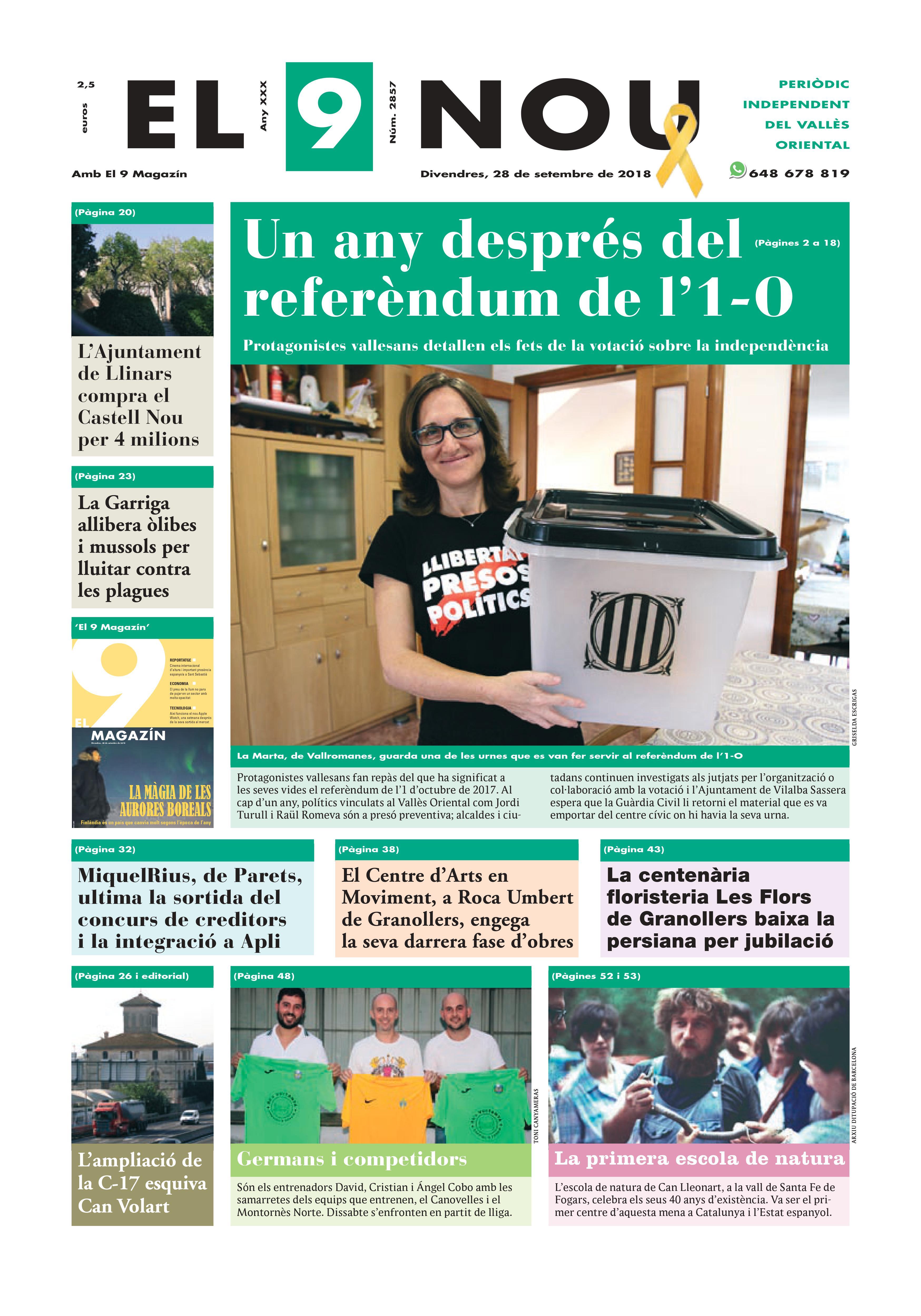 Primera plana EL 9 NOU 28_09_18 Vallès