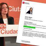 Carina Mejías, presidenta del grup de C's a l'Ajuntament de Barcelona amb el seu currículum vitae